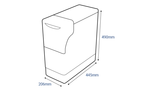 Drawing of M3 Water Softener with dimentions