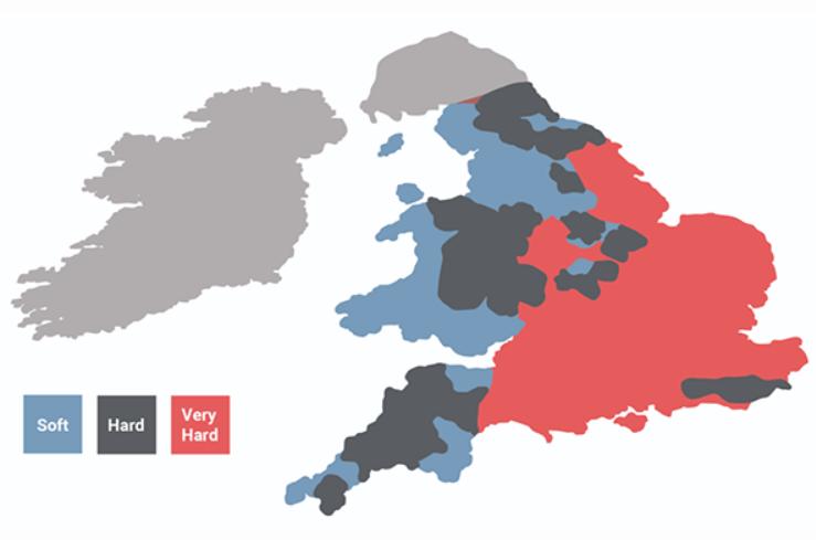 Hard soft water map UK